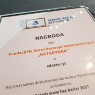 """ADAPTER.PL nagrodzony w konkursie """"Serwis www bez barier 2017″"""