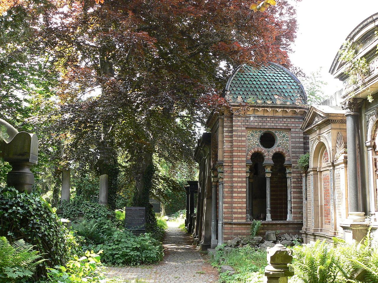 Stary Cmentarz Żydowski we Wrocławiu. Po lewej wysokie, stare drzewa. Po prawej stary grobowiec rodzinny. To niski budynek z dachem w kształcie kopuły.