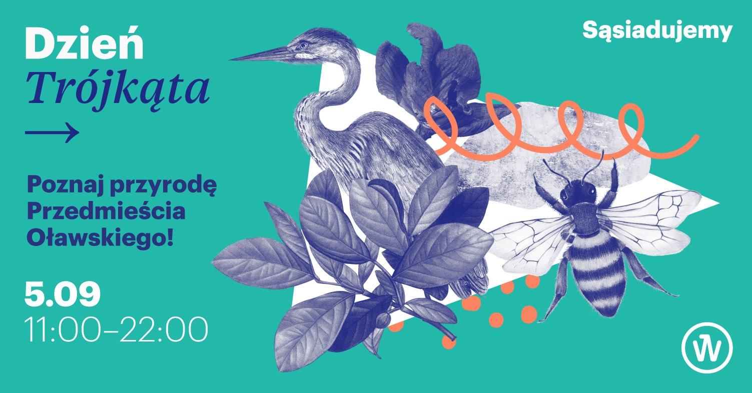 Dzień trójkąta. Poznaj przyrodę Przedmieścia Oławskiego! 5.09. 11:00-22:00. Logotypy programu Sąsiadujemy i Strefy Kultury Wrocław