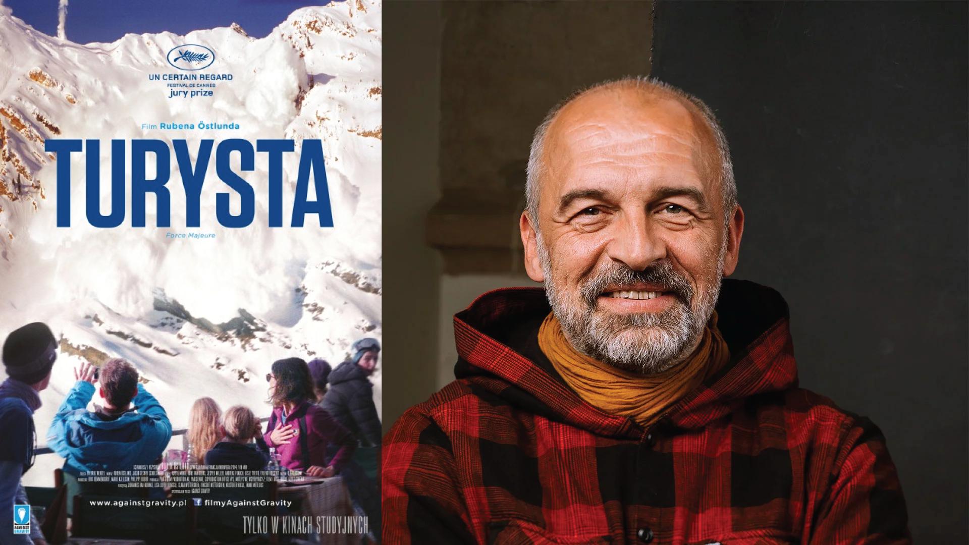 Po lewej plakat filmu Turysta. Po prawej Andrzej Horyza.
