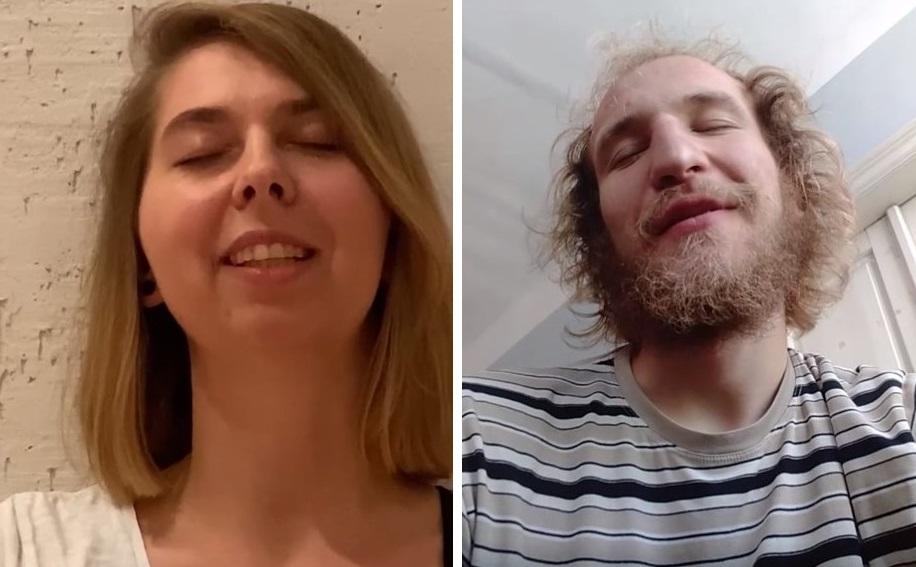 Dwa zdjęcia. Na jednym młoda kobieta z długimi, jasnymi włosami, na drugim młody mężczyzna z brodą i kręconymi jasnymi włosami. Mają zamknięte oczy